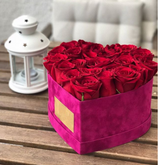Wholesale custom rosy suede heart-shape flower box velvet packaging flowers in EECA