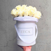 Cylinder flower box top sale White waterproof flower round cardboard hat gift box in EECA packaging